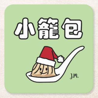 Xiaolongbao Chinese Soup Dumpling Dim Sum Santa Ha Square Paper Coaster
