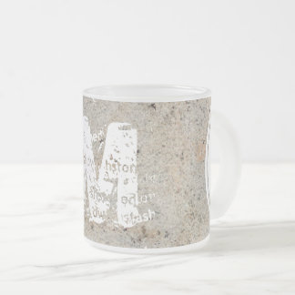 XL Monogram Stone texture image Frosted Glass Mug