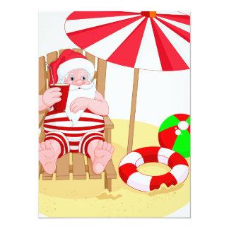 xmas beach santa claus 14 cm x 19 cm invitation card