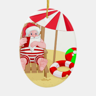 xmas beach santa claus ceramic ornament