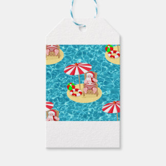 xmas beach santa claus gift tags