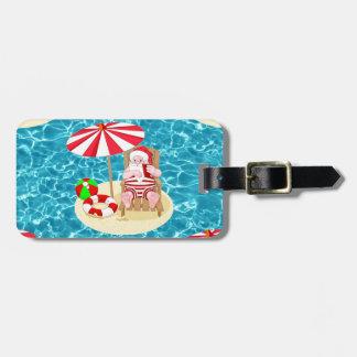 xmas beach santa claus luggage tag