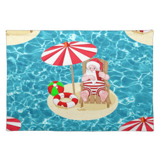 xmas beach santa claus placemat