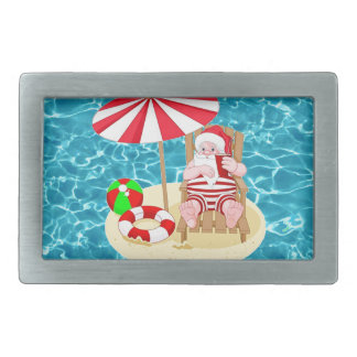 xmas beach santa claus rectangular belt buckle