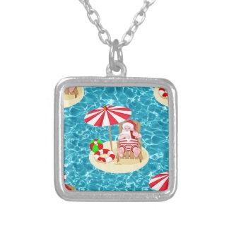xmas beach santa claus silver plated necklace