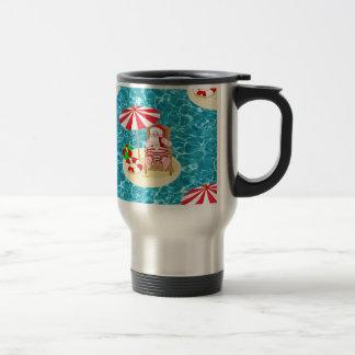 xmas beach santa claus travel mug