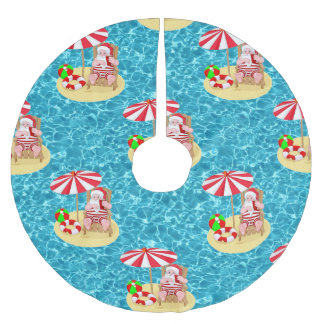 xmas beach santa claus tree skirt