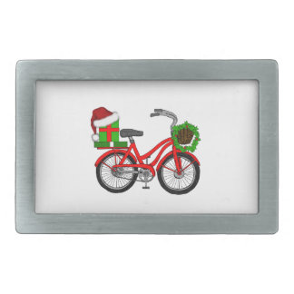 xmas bike rectangular belt buckle