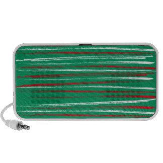Xmas Brush Stripe green Doodle Iphone Speakers