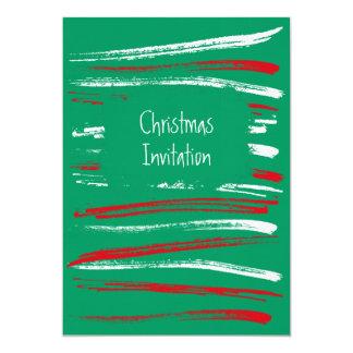 Xmas Brush Stripes green Invitation