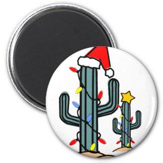 Xmas Cactus 6 Cm Round Magnet