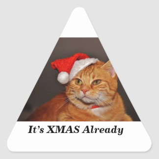 xmas cat triangle sticker