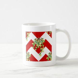 xmas chevron mistletoe coffee mug