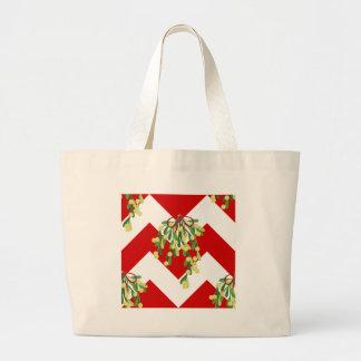 xmas chevron mistletoe large tote bag