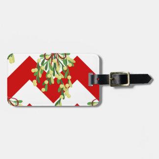 xmas chevron mistletoe luggage tag