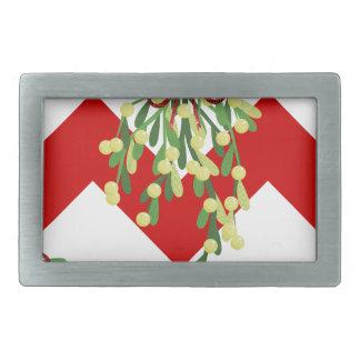 xmas chevron mistletoe rectangular belt buckle