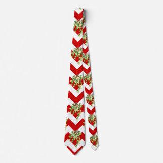 xmas chevron mistletoe tie