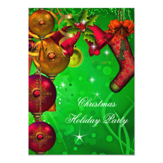 Xmas Christmas Holiday Party Gold Red Green 11 Cm X 16 Cm Invitation Card