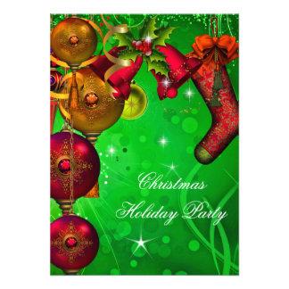 Xmas Christmas Holiday Party Gold Red Green Custom Invites