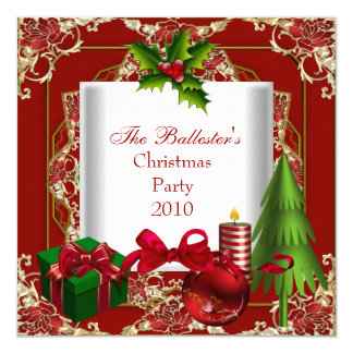 Xmas Christmas Party Red White Gold Green 13 Cm X 13 Cm Square Invitation Card