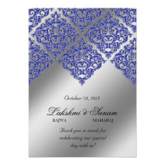 Xmas Damask Invite Photo Card Silver Blue Sparkle