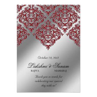 Xmas Damask Invite Photo Card Silver Red Sparkle