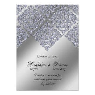 Xmas Damask Invite Photo Card Silver Sparkle