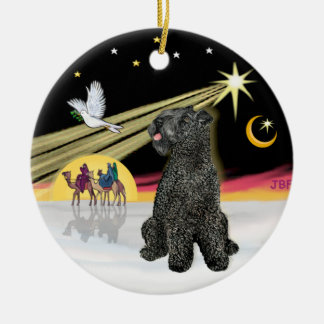 Xmas Dove- Kerry Blue Terrier Ceramic Ornament