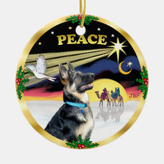Xmas Dove (Peace) - German Shepherd # Ceramic Ornament