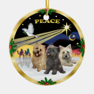 Xmas Dove - Three Cairn Terriers Ceramic Ornament