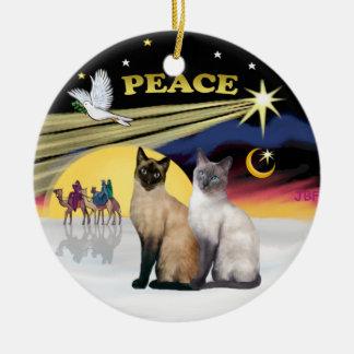 Xmas Dove - Two Siamese cats (Choc+Blue) Ceramic Ornament