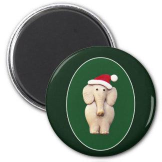 Xmas Elephant 6 Cm Round Magnet