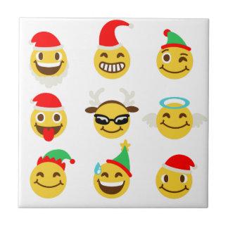 xmas emoji happy faces ceramic tile