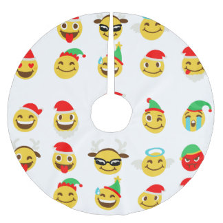 xmas emoji happy faces christmas tree skirt