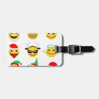 xmas emoji happy faces luggage tag