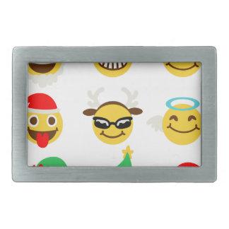 xmas emoji happy faces rectangular belt buckle
