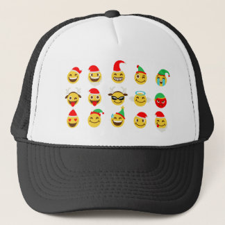 xmas emoji happy faces trucker hat