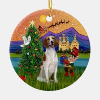 Xmas Fantasy - American Foxhound Ceramic Ornament
