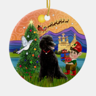 Xmas Fantasy - Black Standard Poodle Ceramic Ornament