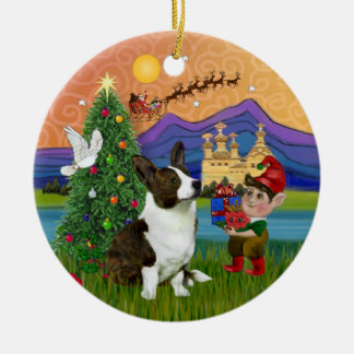 Xmas Fantasy -  Cardigan Welsh Corgi Ceramic Ornament
