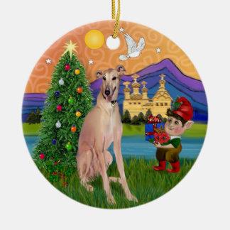 Xmas Fantasy - Fawn Greyhound (sitting) Ceramic Ornament