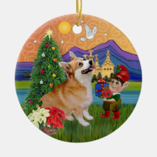 Xmas Fantasy - Pembroke Welsh Corgi 7b Ceramic Ornament