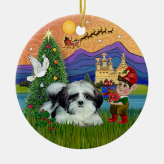 Xmas Fantasy - Shih Tzu (black-white) Ceramic Ornament