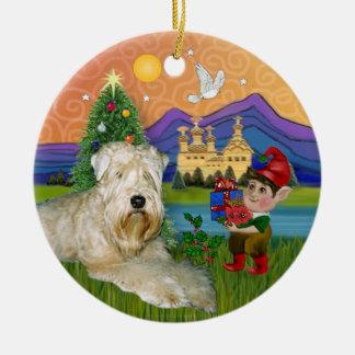 Xmas Fantasy - Soft Coated Wheaten Terrier Ceramic Ornament