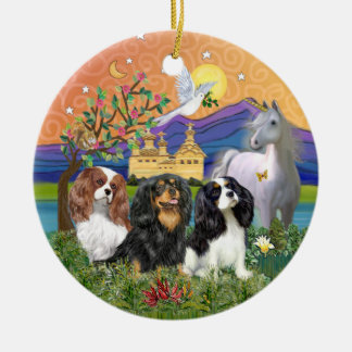 Xmas Fantasy-Three Cavalier King Charles Spaniel Ceramic Ornament