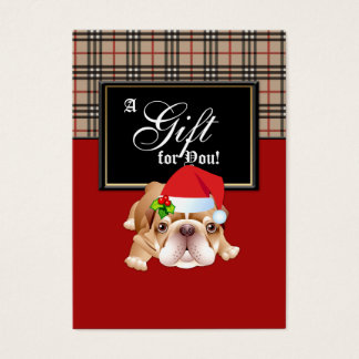Xmas Fashion Gift Card Designer Plaid Holly Dog R