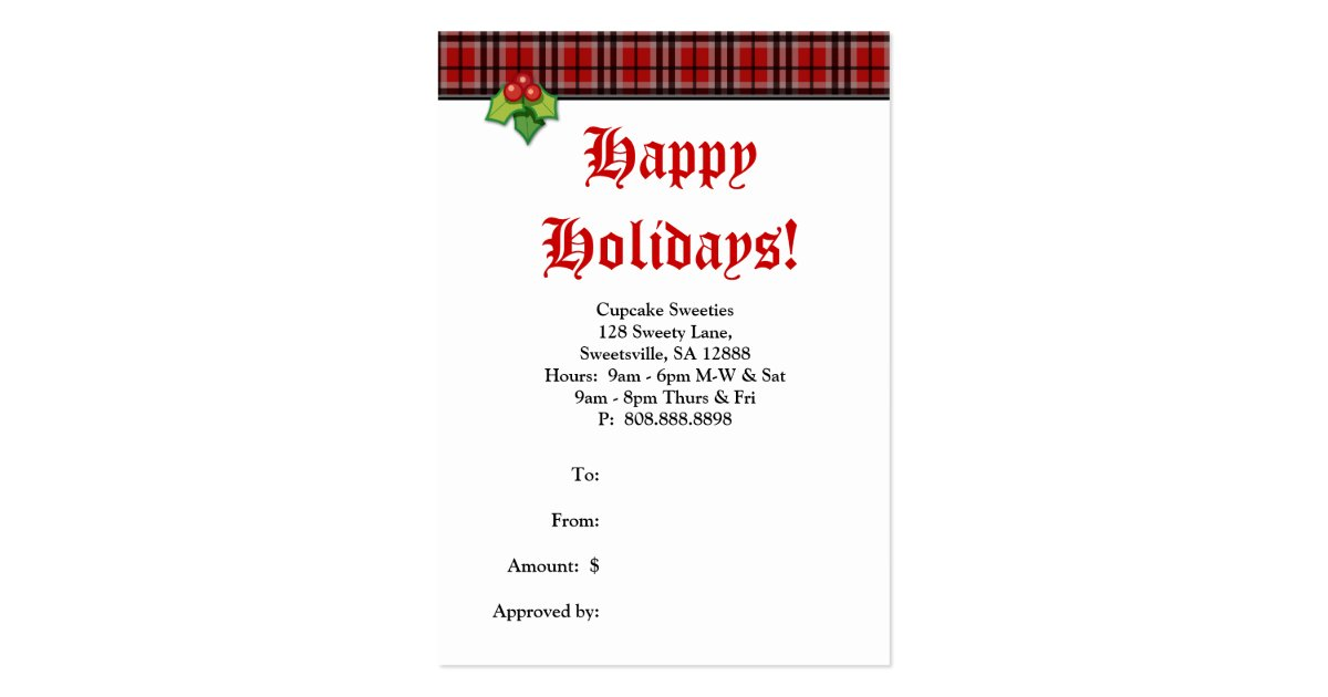 Xmas Fashion Gift Card Designer Plaid Holly Red Pack Of