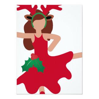 xmas flamenco dancer emoji 14 cm x 19 cm invitation card