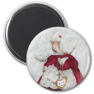 Xmas Fridge Magnet Angel with Finch
