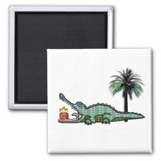 Xmas Gator Gift Square Magnet